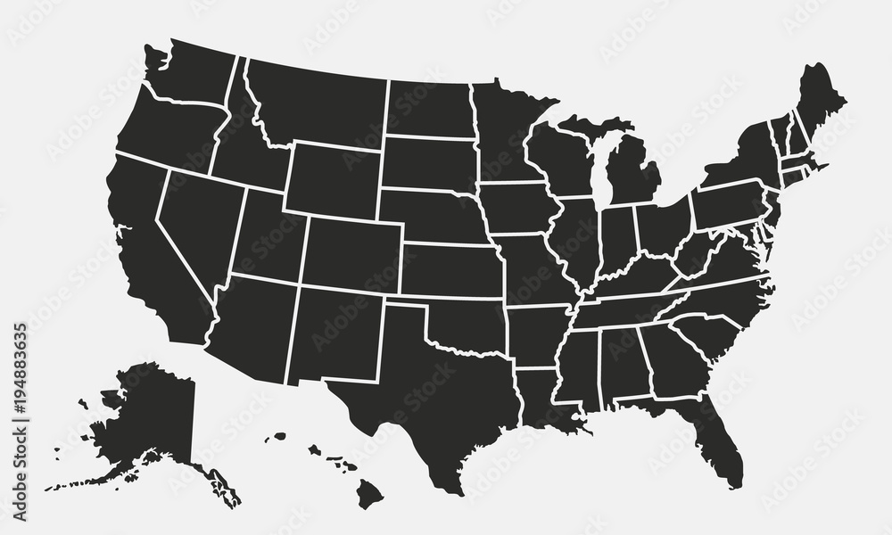 Fototapety, obrazy: USA map with states isolated on a white background. United States of America map. Vector illustration