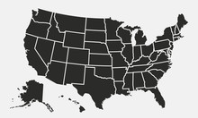 USA Map With States Isolated O...