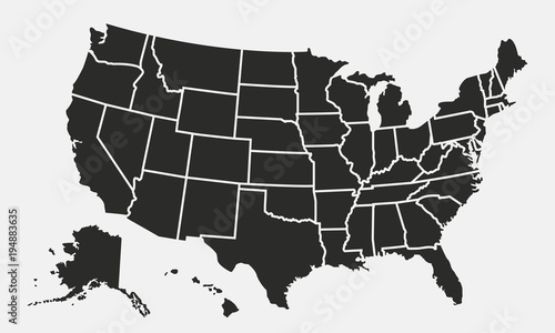 Cuadros en Lienzo USA map with states isolated on a white background