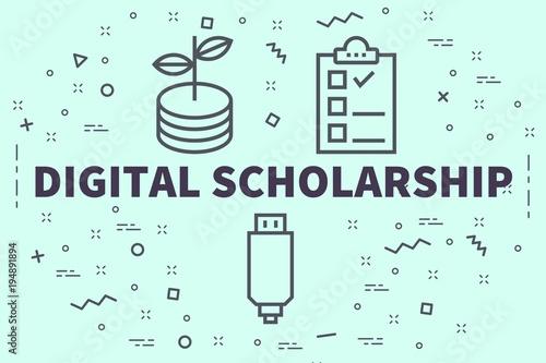 Fotografie, Obraz  Conceptual business illustration with the words digital scholarship
