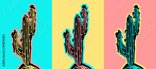 Photo sur Aluminium Pop Art Set of Pop Art Cactus pictures.