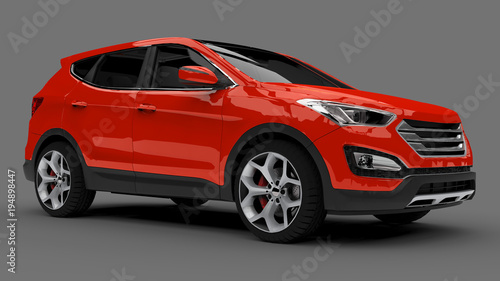 Garden Poster Cartoon cars Compact city crossover red color on a gray background. 3d rendering.
