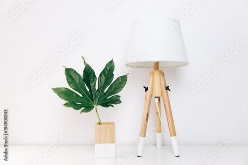 Fototapeta Nordic lamp and tropical leaf, simple decor objects, Scandinavian minimalist white interior obraz