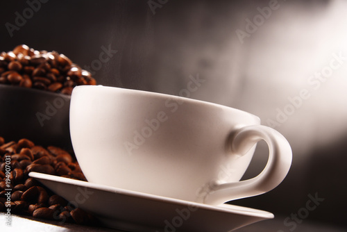 Wall Murals Cafe Composition with two cups of coffee and beans
