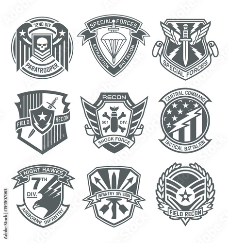 Military patch emblem badges on white