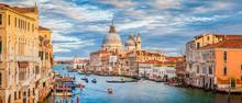 Canal Grande With Basilica Di Santa Maria Della Salute At Sunset, Venice, Italy