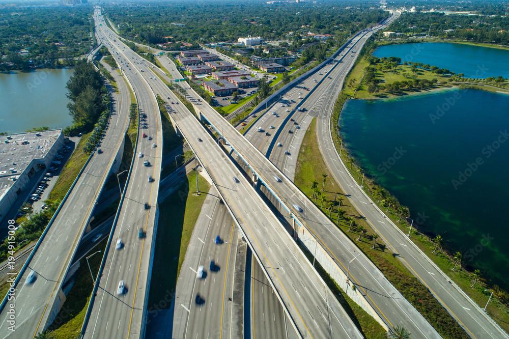 Fototapeta Aerial drone photo highway interchange Miami Florida Palmetto expressway