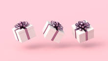 White Gift Boxes With Purple R...