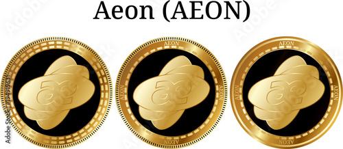 Set of physical golden coin Aeon (AEON) Canvas Print