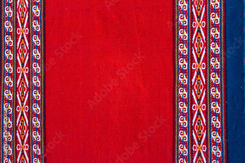 Photo Close-up of a colorful fabric with Peruvian design