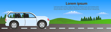 Car Driving Road In Nature Over Green Landscape Horizontal Banner With Copy Space Flat Vector Illustration