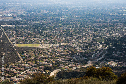 Fotografie, Obraz  Aerial View of the City of Claremont, Ontario, Upland, Rancho Cucamonga, Montcla