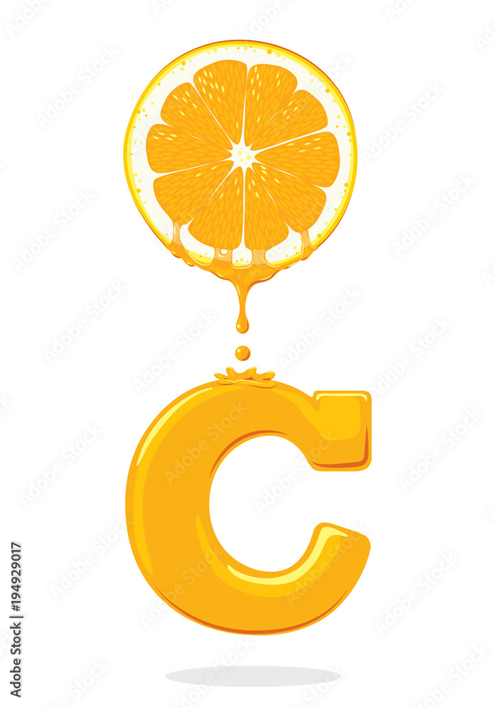 Fototapeta illustration fresh orange,Vitamin C, vector