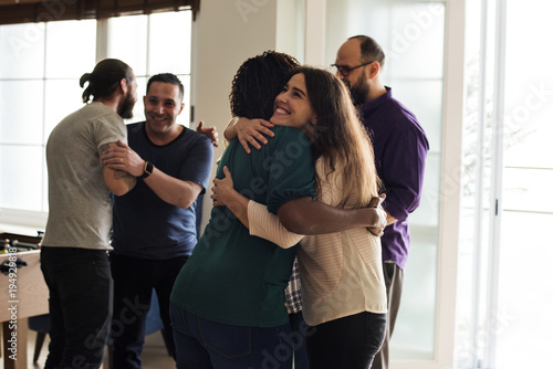 Photo Friends hugging each other