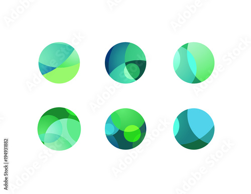 Fotografía Abstract circular sphere icons with overlapping circles and round shapes