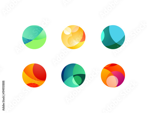 Foto Abstract circular sphere icons with overlapping circles and round shapes
