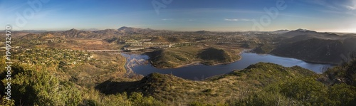 Fotografía Wide Scenic Panoramic Landscape View of Lake Hodges and San Diego County North I
