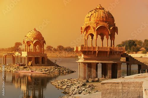 Poster India Gadi Sagar temple on Gadisar lake Jaisalmer, India.
