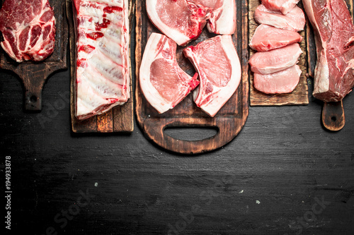 Valokuva  Different types of raw pork meat and beef.