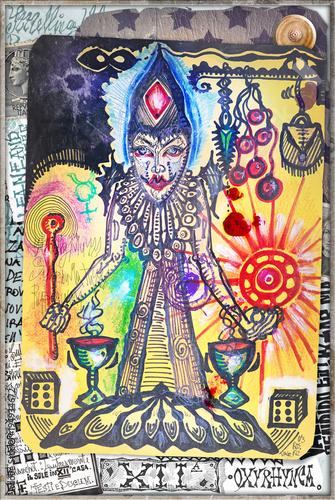 Foto op Aluminium Imagination Disegni e manoscritti alchemici e esoterici con collage,formule e tarocchi