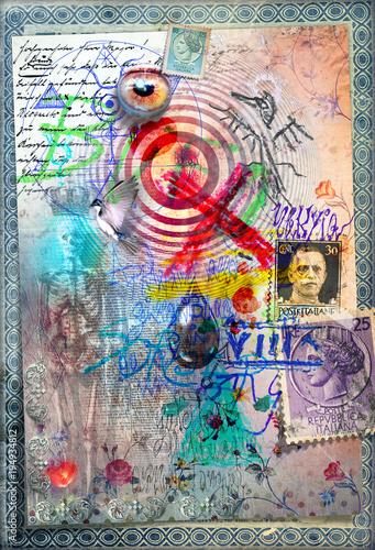 Disegni e manoscritti alchemici e esoterici con collage,formule e tarocchi