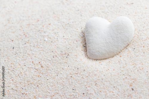 白い砂とハート型のサンゴ石