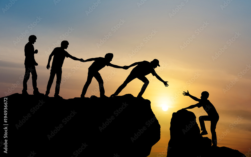 Fototapeta Group of people on peak mountain climbing helping team work , travel trekking success business concept