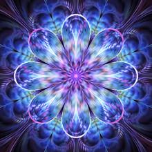 Abstract Exotic Blue And Violet Flower. Psychedelic Mandala Design. Fantasy Fractal Art. 3D Rendering.