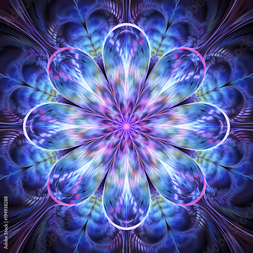 Foto  Abstract exotic blue and violet flower