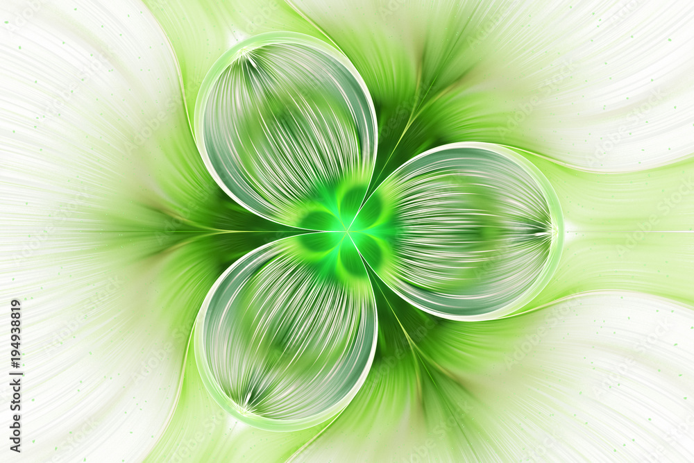 Photo  Abstract exotic green flower with shining drops