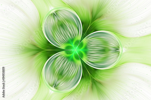 Fototapeta  Abstract exotic green flower with shining drops