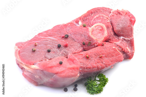 Staande foto Vlees Meat lamb on a white background
