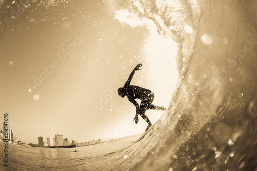 Surfing Surfer Wave Closeup Silhouette Vintage