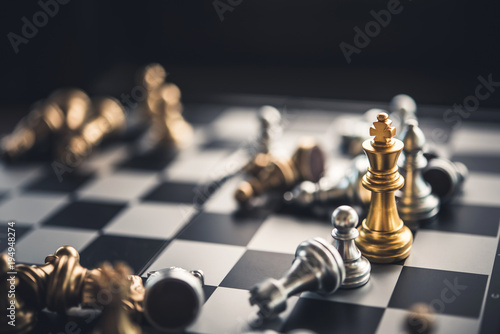 Fototapeta chess board game for ideas and competition and strategy, business success concep