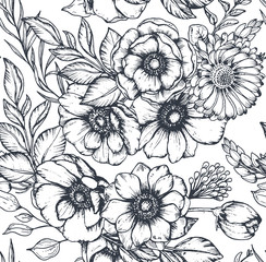 Fototapeta Florystyczny Vector black and white seamless pattern with hand drawn anemone flowers