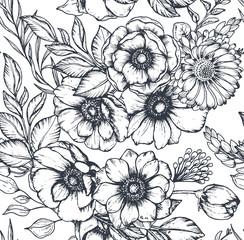 Panel Szklany Podświetlane Florystyczny Vector black and white seamless pattern with hand drawn anemone flowers