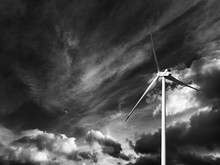Wind Turbine And Black And Whi...
