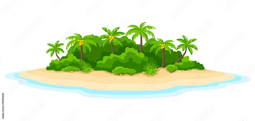 Fototapety, obrazy: Illustration of tropical island in ocean. Landscape with ocean and palm trees. Travel background