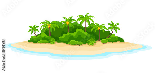 Obraz Illustration of tropical island in ocean. Landscape with ocean and palm trees. Travel background - fototapety do salonu