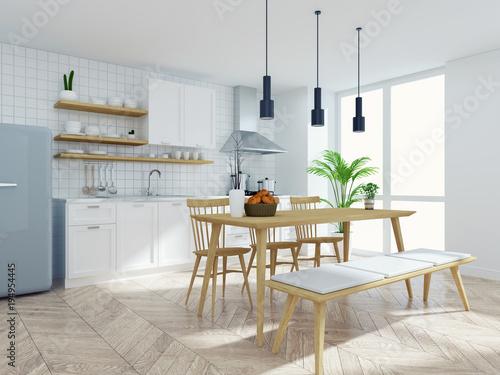 Astonishing Modern Scandinavian Kitchen And Dinning Room Interior Wood Short Links Chair Design For Home Short Linksinfo
