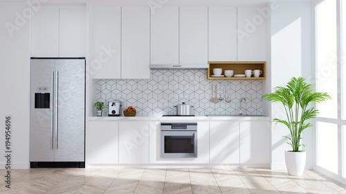 Obraz Modern kitchen white room interior .3drender - fototapety do salonu