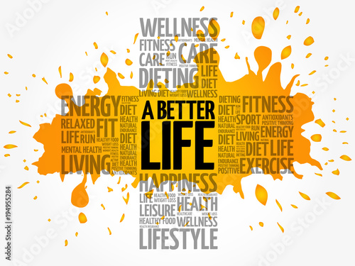 Fotomural A Better Life word cloud, health cross concept background