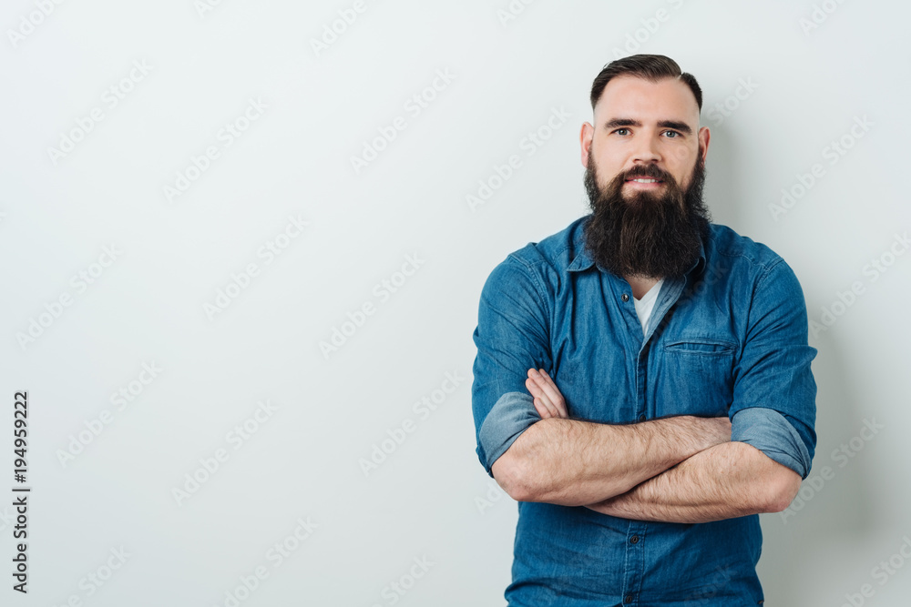 Fototapety, obrazy: Bearded man staring at the camera with a smile