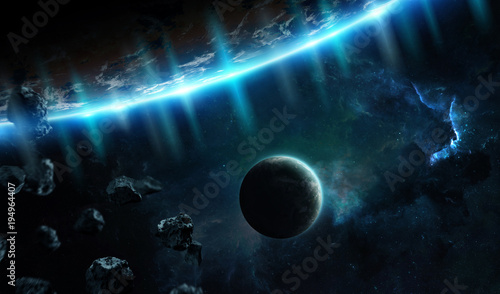 Fotobehang Koraalriffen Distant planet system in space with exoplanets 3D rendering elements of this image furnished by NASA