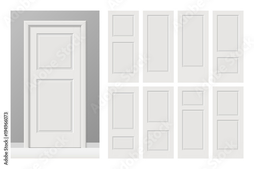 Vector white painted interior wooden doors set in flat style Canvas Print