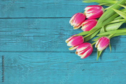 Foto op Plexiglas Tulp Beautiful fresh tulips on wooden background