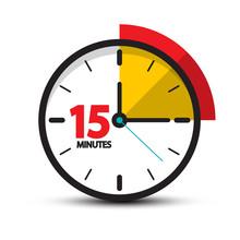 15 Minutes Clock Icon. Vector ...