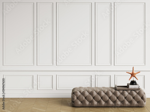 Fotografia  Classic ottoman with  decor in classic interior with copy space