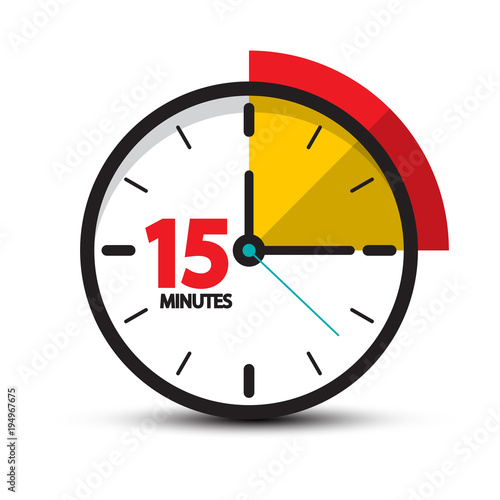 15 Minutes Clock Icon  Vector Fifteen Minute Symbol Isolated