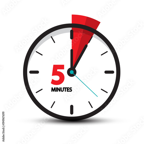 five minutes clock icon isolated on white background  5